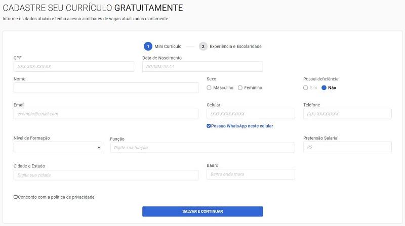 Inscrição Trabalha Brasil 2021